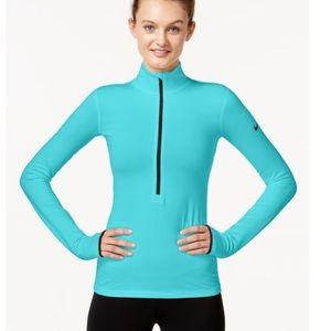 Turquoise Nike pro dri fit half zip pullover